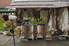 Counter in the market. Counter with fur products in the fair in Hungary Royalty Free Stock Photography