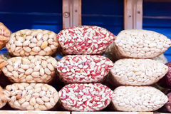 Counter in market place with bean and nuts Stock Photo