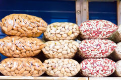 Counter in market place with bean and nuts Stock Photography