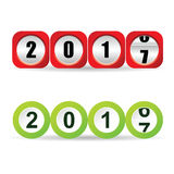 Counter new year 2017 illustration in red and green. Color vector illustration