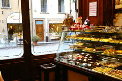Counter of old pastry shop in Florence, Italy Royalty Free Stock Images