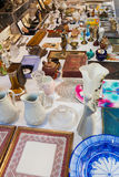 Counter with old  things at flea market Stock Images