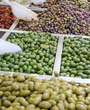 The counter with olives Stock Photo