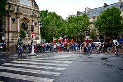 Counter-protesters with chinese flags and demonstrators gathering to support pro-democracy protests in Hong Kong. Paris, France.