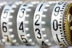 Counter rolls with different numbers. scoreboard mechanism close Stock Photo