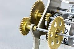 Counter rolls with gearwheels. mechanical scoreboard closeup. Stock Photography