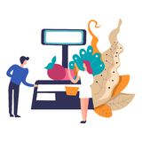 Counter of salesperson, weight and apple with leaves. Vector. Fruit selling man and woman customer, shop client buying organic healthy food. Profession in royalty free illustration