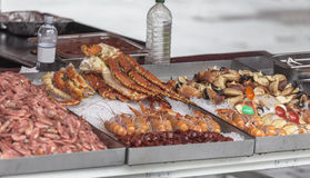 Counter with seafood Royalty Free Stock Photo