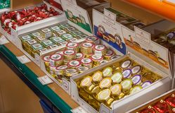 Counter in shop of sweets - famous Lubeck Germany marzipans. J.G.Niederegger company is world famous producer of marzipan and sweets; it was founded on 1806 royalty free stock image