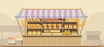Bakery bread stand counter vector booth product shop or supermarket store display. Counter stand with bread or bakery and dessert product booth display for royalty free illustration