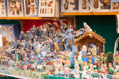 Counter of stand with figures and workpiece for creating Christm Stock Images