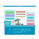 Counter stand in shop or supermarket. Retail checkout in store. Stock Photos