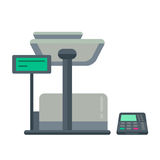 Counter stand in shop or supermarket. Retail checkout in store. Cashier desk in cash department. Vector illustration design isolated on white background Royalty Free Stock Photo