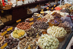Counter of the store with handmade chocolate Royalty Free Stock Photography