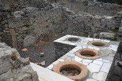 Counter in Thermopolium, Roman Pompeii, Italy Stock Images