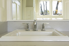 Counter top and sink in Upscale Master Bathroom royalty free stock photo