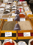 Counter on turkish spice market Stock Photos