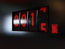 Counter turn of the year 2014-2015. Counter turn of the year 2015 Stock Photo
