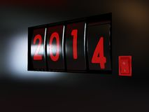 Counter turn of the year 2014. Counter turn of the new year 2014 Stock Images