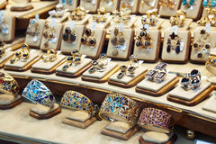 Counter with variety jewelry Royalty Free Stock Photo