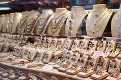 Counter with variety jewelry Royalty Free Stock Image