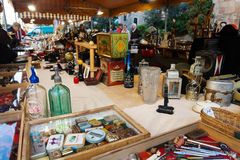 Counter with vintage things at flea market Royalty Free Stock Images