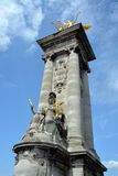 A counter Weight Tower on Pont Alexandre III Bridge in Paris Fra Stock Image