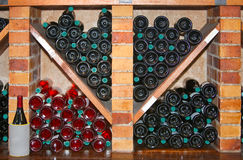 Counter with wine bottles Royalty Free Stock Photos
