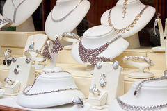 Counter With Jewelry In Window Royalty Free Stock Photos