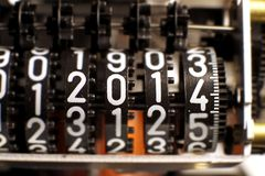 Counter with the year 2014 in the meter Stock Photography