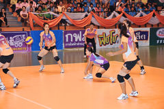 Counterattack ball in volleyball players chaleng Royalty Free Stock Image