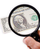 Counterfeit dollar on magnifier Royalty Free Stock Photography