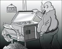 Counterfeit money. The fat, bald boss counterfeit money on the xerox Royalty Free Stock Photo