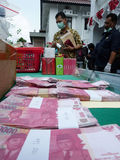 Counterfeit money. Prosecutors showed counterfeit money proceeds of crime in the city of Solo, Central Java, Indonesia Stock Photography