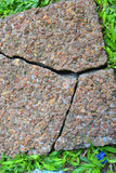 COUNTERFEIT PAVE. View of a stone block used primarily for pavement facing and split garden due to the counterfeit material that was the basis of its manufacture Royalty Free Stock Photo