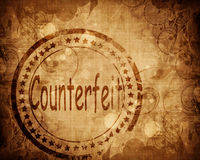 Counterfeit stamp on grunge background Stock Photo