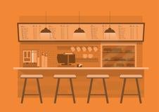 Counterin del café en fondo monótono anaranjado del color stock de ilustración