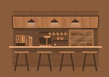 Counterin del café en fondo monótono del color de Brown ilustración del vector
