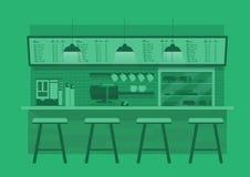 Counterin del café en fondo monótono verde del color stock de ilustración