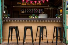 Counters with chairs for drinks. Mini Counters with chairs for drinks stock image