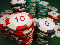 Counters_for_a_roulette. Counters for game in a roulette on a game table Royalty Free Stock Photography
