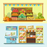 Counters of shop or store and supermarket product vector flat displays. Shop, store and market counters or product booth displays. Vector flat vendor stands for Royalty Free Stock Photo