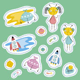 Counters For Table Games Cartoon Vectors Set. Space cartoon stickers. Flying saucers, rockets, Saturn, Moon, falling star or comet, cute alien boy and girl Royalty Free Stock Photography