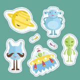 Counters for Table Games Cartoon Vectors Set. Space cartoon stickers. Smiling planet Saturn, funny aliens, flying saucer, falling star or comet vector Royalty Free Stock Photography