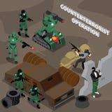 Counterterrorist Operation Isometric Composition stock illustration