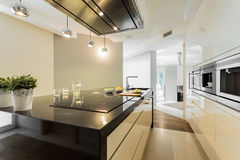 Countertop in designer kitchen stock images