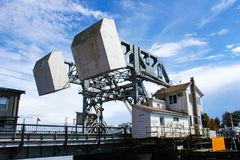 Counterweights of the Mystic River Bascule Bridge while it is closed so traffic can pass as seen from the side Mystic Conneticut U. Counterweights of the Mystic Stock Photos