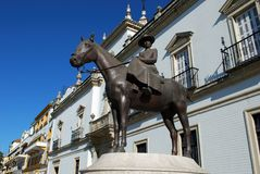 Countess of Barcelona statue, Seville. Statuette of the Countess of Barcelona on horseback (Condesa de Barcelona), Seville, Seville Province, Andalusia, Spain royalty free stock image