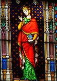 Countess Sibylla of Anjou - Stained Glass. Stained Glass in the Basilica of the Holy Blood in Bruges, Belgium, depicting Countess Sibylla of Anjou, a countess royalty free stock photography