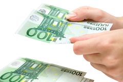 Counting 100 Euro Banknotes Royalty Free Stock Photography